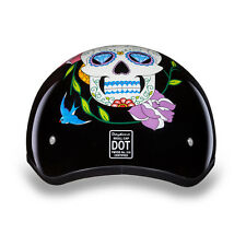 "D.O.T WOMENS HELMET HALF SHELL MOTORCYCLE HELMET LOW PROFILE ""SUGAR SKULL"" XS-2X"