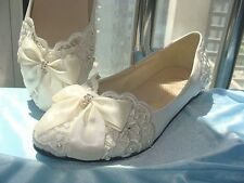 Wedding shoes Handmade lace bow flat  Bridal shoes Bridesmaid shoes sandals
