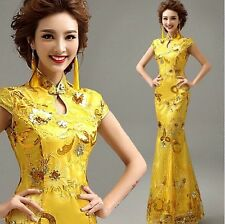 185F Yellow Chinese's Cheongsam Formal Evening Prom Party Dress Ball Gown Gift