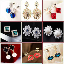 new design fashion pearl crystal sapphire gold/silver plated earring ear stud