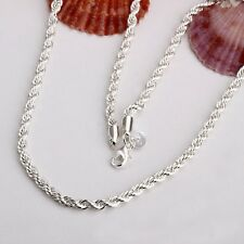 Men's 925 Sterling Silver Twited Rope Chain Necklace 2-4mm 16 18 20 22 24inches