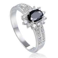 New Woman favorable 18K White Gold filled Black Onyx outstanding Rings Size 7-9