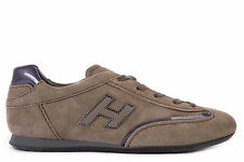 HOGAN WOMEN'S SHOES SUEDE TRAINERS SNEAKERS NEW OLYMPIA BROWN  515