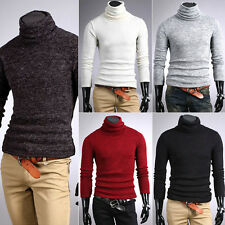 Mens Thermal Cotton Turtle Polo Neck Skivvy Turtleneck Sweater Stretch Shirts