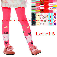 LOT OF 6 GIRL MOPAS WINTER PRINTED TIGHTS CUTE COMFORTABLE LEGGINGS SIZE XS-XL