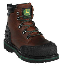 "Men's Work Safety Boots Leather John Deere Dark Brown (D, M) 6"" Steel Toe JD6343"