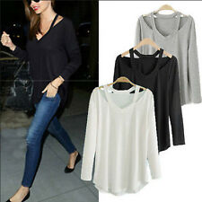 Womens V Neck Loose Cotton Soft Long Sleeve Solid Casual T-Shirt Tee Tops Blouse
