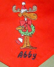 Reindeer and Wreath Christmas Personalized Dog Bandana