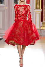 Red long sleeve evening Cocktail Party dresses Prom Gown size 4 6 8 10 12 14 16