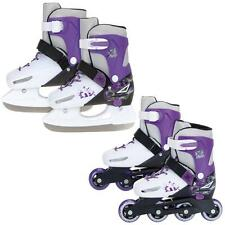 XQ MAX 2in1 GIRLS INLINE ROLLER SKATES ICE SKATING BOOTS ADJUSTABLE SHOES BLADES