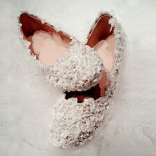 Wedding shoes Handmade leather lace flat  Bridal shoes Bridesmaid shoes crystal