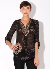 NWT New Hale Bob Sheer Silk Top Beaded Neckline XS,S /Retail $296