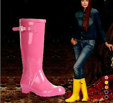Fashion Women's Candy Colors Rain Boots Tall Canister Mid Calf Boots Overshoes