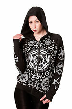 Banned Occult Pentagram Hoodie Top Goth Emo Living Dead Souls 10 12 14 16 BLACK