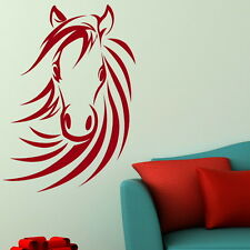HORSE HEAD RIDING LARGE WALL ART STICKERS kids room girls bedroom stencil HO6