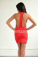 new womens ladies sexy mini bodycon backless celeb party red glam low back dress