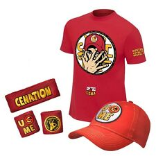 brand new WWE JOHN CENA SET ( YOU CANT SEE ME RED ) T SHIRT HAT & ARM BANDS