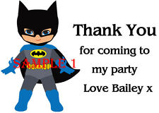 Personalised SUPERHERO Thank You Stickers for party bags etc Ref 04 - 01