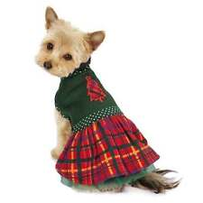 HOLLY DAYS PLAID Dog Dress Festive Fleece Green Tulle Underskirt Polka Dot Trim