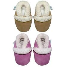 NEW SOFT SUEDE BABY SLIPPERS, 0-6 TO 18-24mths, PINK OR TAN SUEDE FLEECE LINED
