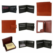 DENTS WALLET Genuine Italian LEATHER Mens Credit Card Holder Bifold GIFT BOX New