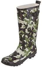 Mens TRESPASS FIGHTER Green Camouflage Wellies Wellington Boots in Sizes 7-12
