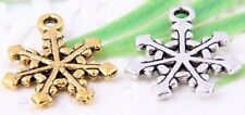 Wholesale 26/54Pcs Silver Plated/Gold Plated(Lead-Free)Snowflake Charms 20x17mm
