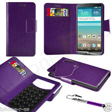 Purple Leather Suction Wallet Flip Mobile Phone Case For Various LG Phones