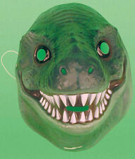 Plastic Green or Brown Dinosaur Reptile Face Mask fancydress Tyrannosaurus T rex