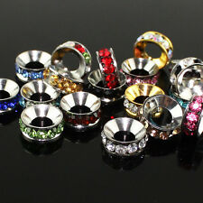 Czech Crystal Platinum Large Hole European Charm Spacer Beads 10mm Fit Bracelets