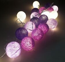 20 COTTON BALL/GLOBE STRING LIGHT: PARTY,PATIO,FAIRY,DECOR,CHRISTMAS,WEDDING B:7