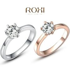 ROXI White/Rose Gold Plated Brilliant Swarovski Crystal Women Engagement Ring