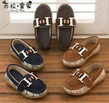 Boys Kid Round Toe Soft Rubber Outsole Slip On Shoes Leather Flat Casual Loafers