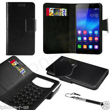 Black Leather Suction Wallet Flip Mobile Phone Case For Various Huawei Models