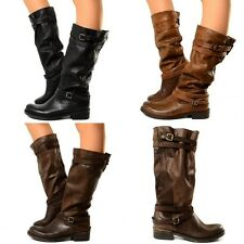 Stivali Alti Camperos Donna Vera Pelle Vintage Sfumati Boots Made in Italy N999
