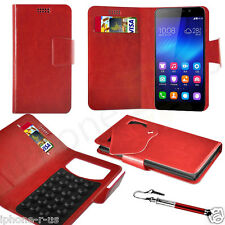 Red Leather Suction Wallet Flip Mobile Phone Case For Various Huawei Models