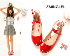 Kawaii Lolita Loli Round Red Maid Shoes Flat Ankle Cross Strape Cosplay 4Colors