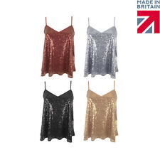 Womens Ladies Sequin Strappy Cami Swing Vest Top Sleeveless Party Evening Top