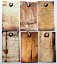 Hang Tags  PRIMITIVE GRUNGY OLD PAPER MIXED TAGS #103  Gift Tags