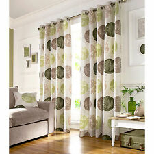 Brightwood Eyelet Ring Top Fully Lined Ready Made Curtains Green Beige Brown