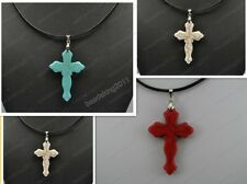BLUE RED WHITE TURQUOISE CROSS PENDANT LEATHER CORD NECKLACE diy findings