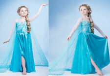 ON SALE~Kids Girls Disney Frozen Princess Elsa Cosplay Costume Party Fancy Dress
