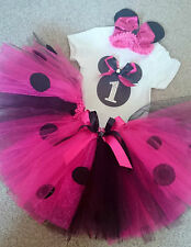 1ST 2ND first second BIRTHDAY MINNIE MOUSE BLACK/PINK TUTU SKIRT PARTY OUTFIT
