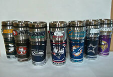 NFL Teams Stainless Steel Insulated Travel Tumbler Mug~16 OZ~ Metallic Graphic