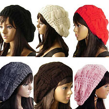 Chic Popular Women's Lady Beret Braided Baggy Beanie Crochet Hat Ski Cap Knitted