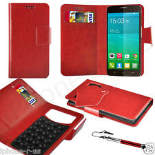 Red Leather Suction Wallet Flip Mobile Phone Case For Various Alcatel Models