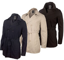 Sevenhill Mens Trench Coat New Collared Lined Jacket Belt Navy Blue Black Stone