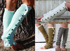 Fashion Stocking Button Lace Knee Knitted Foot Cover Leg Warmers Boot Sock