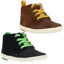 MAXI HEHE INFANT BOYS CLARKS BROWN NAVY LEATHER LACE UP ZIP WINTER ANKLE BOOTS