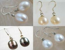 white black lavender pink freshwater pearls rice beads silver dangle earrings